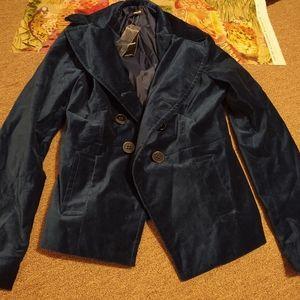 NWT Bebe Blue Velvet Coat Size M/L
